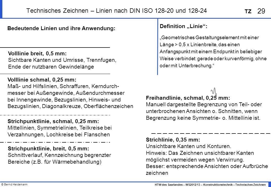 Technisches Zeichnen – Linien nach DIN ISO 128-20 und 128-24