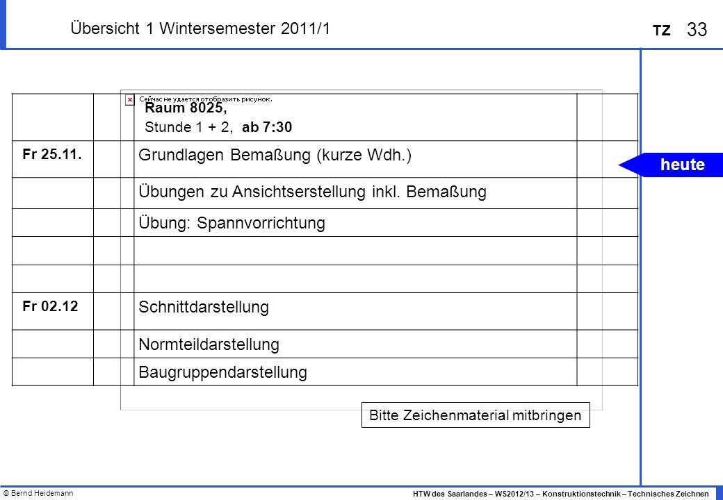 Übersicht 1 Wintersemester 2011/1