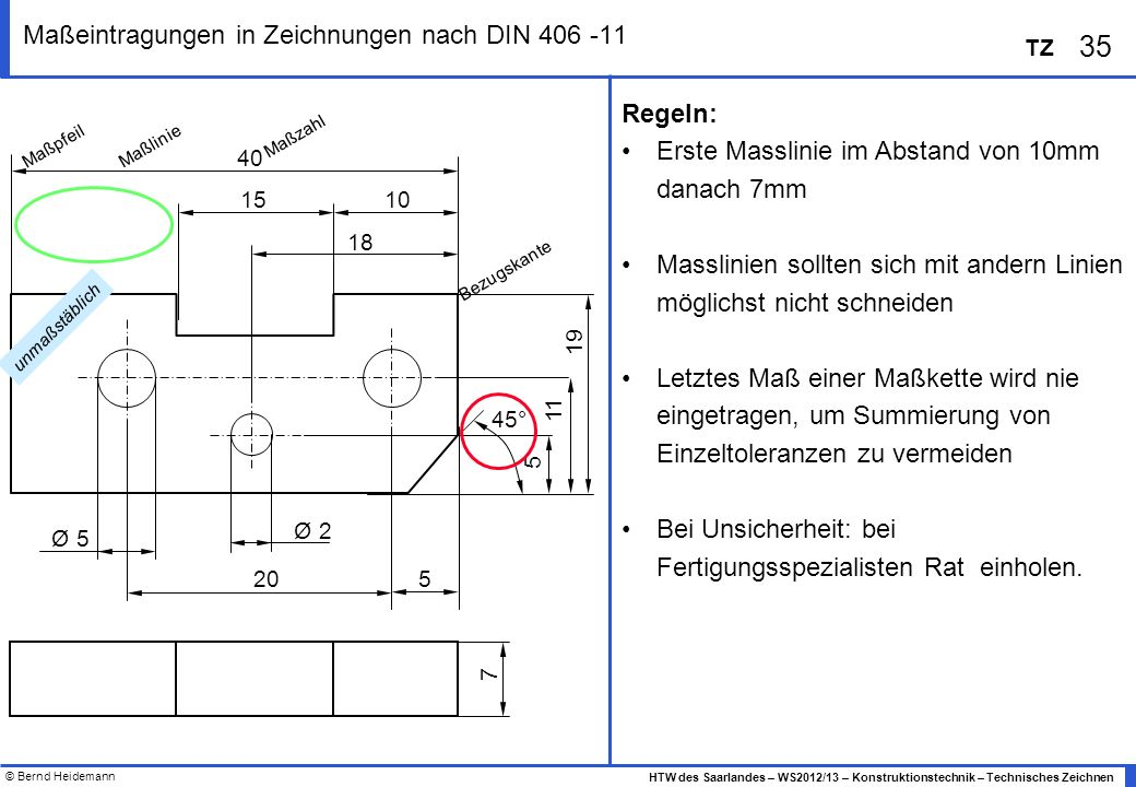 Maßeintragungen in Zeichnungen nach DIN 406 -11