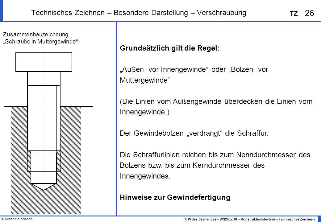 Technisches Zeichnen – Besondere Darstellung – Verschraubung