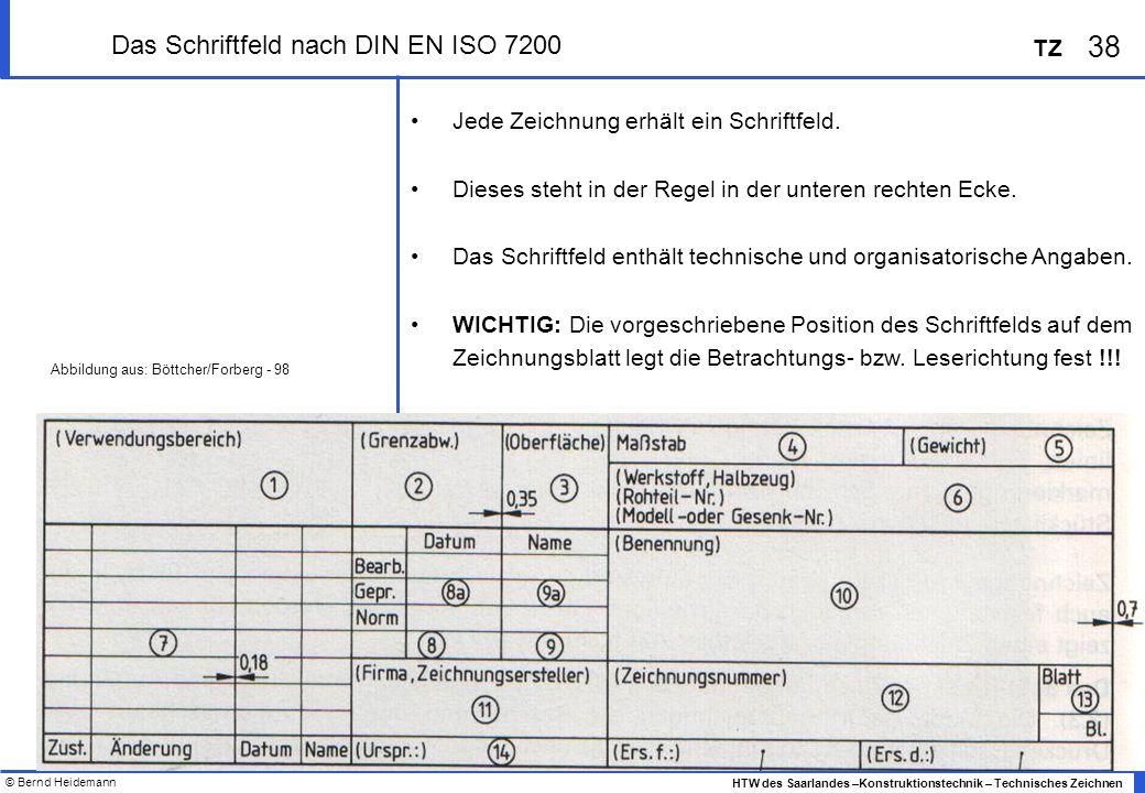 Das Schriftfeld nach DIN EN ISO 7200
