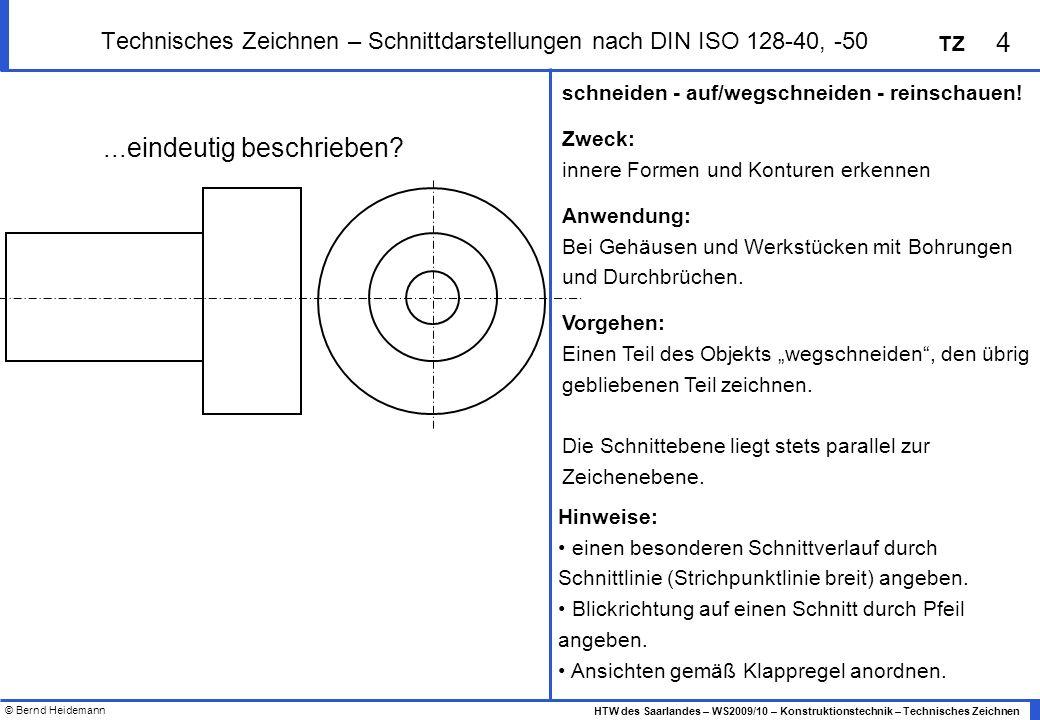 Technisches Zeichnen – Schnittdarstellungen nach DIN ISO 128-40, -50