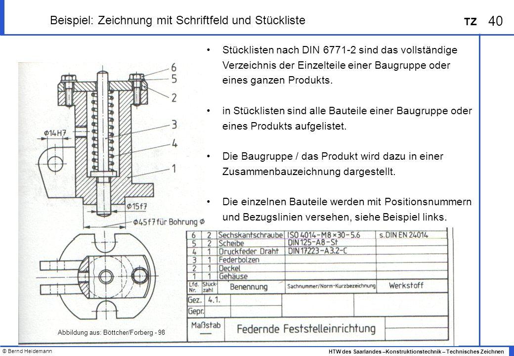 Beispiel: Zeichnung mit Schriftfeld und Stückliste