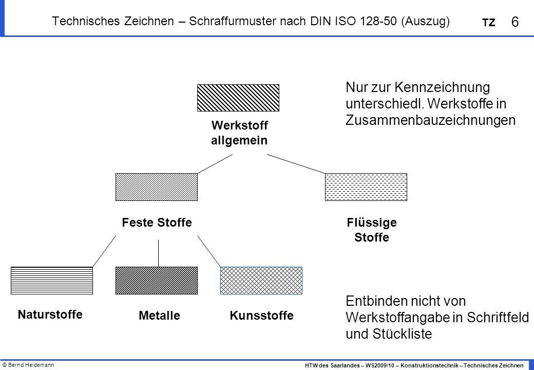 Technisches Zeichnen – Schraffurmuster nach DIN ISO 128-50 (Auszug)