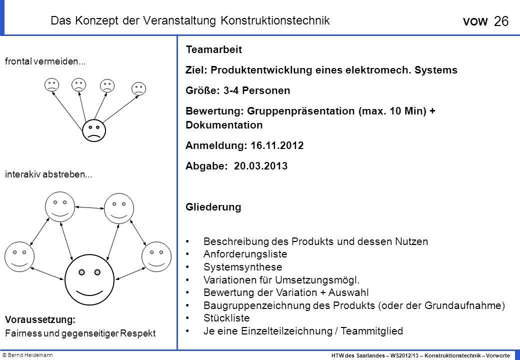 Das Konzept der Veranstaltung Konstruktionstechnik