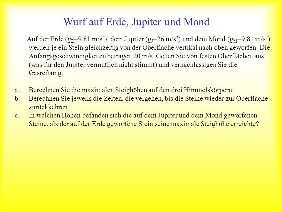 Wurf auf Erde, Jupiter und Mond