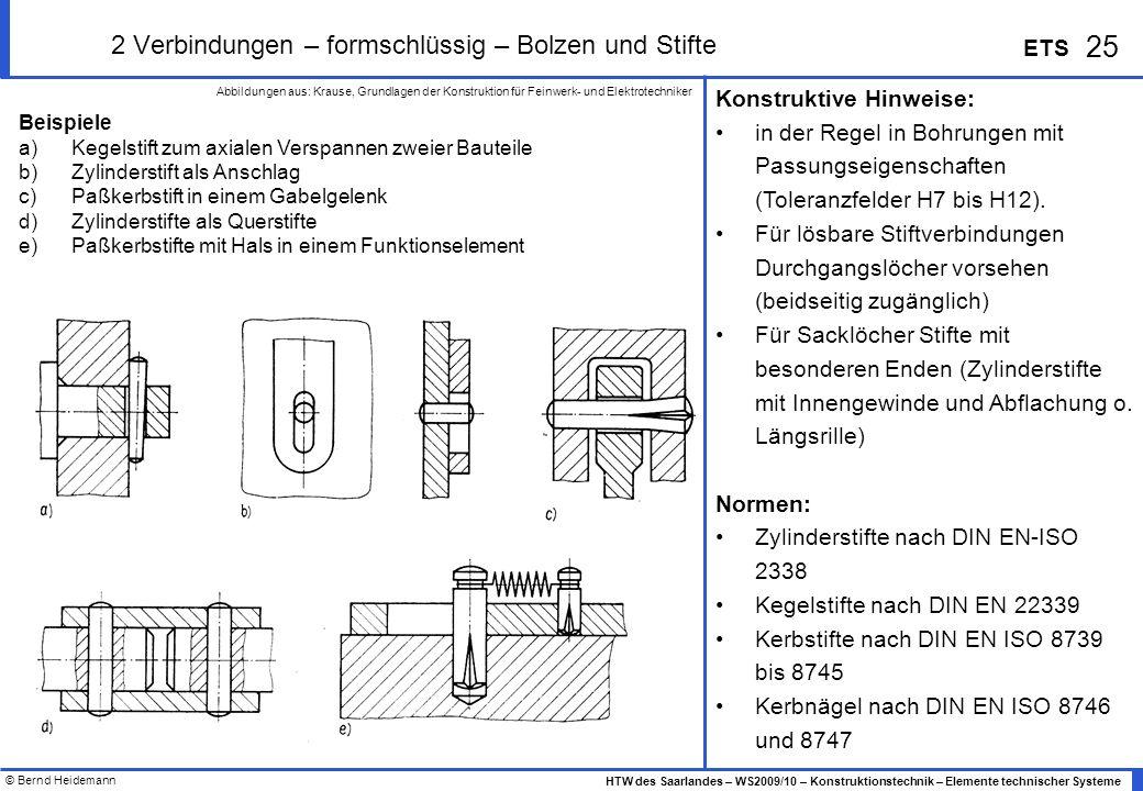 2 Verbindungen – formschlüssig – Bolzen und Stifte