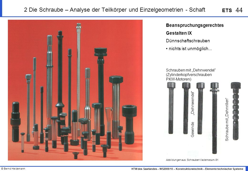 2 Die Schraube – Analyse der Teilkörper und Einzelgeometrien - Schaft
