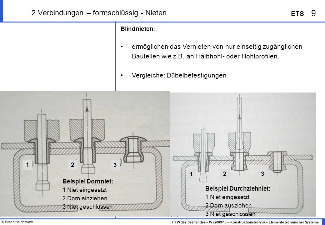 2 Verbindungen – formschlüssig - Nieten