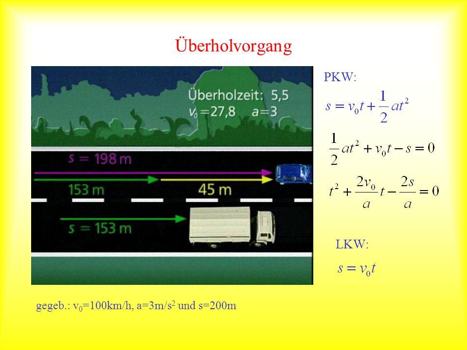 Überholvorgang PKW: LKW: gegeb.: v0=100km/h, a=3m/s2 und s=200m