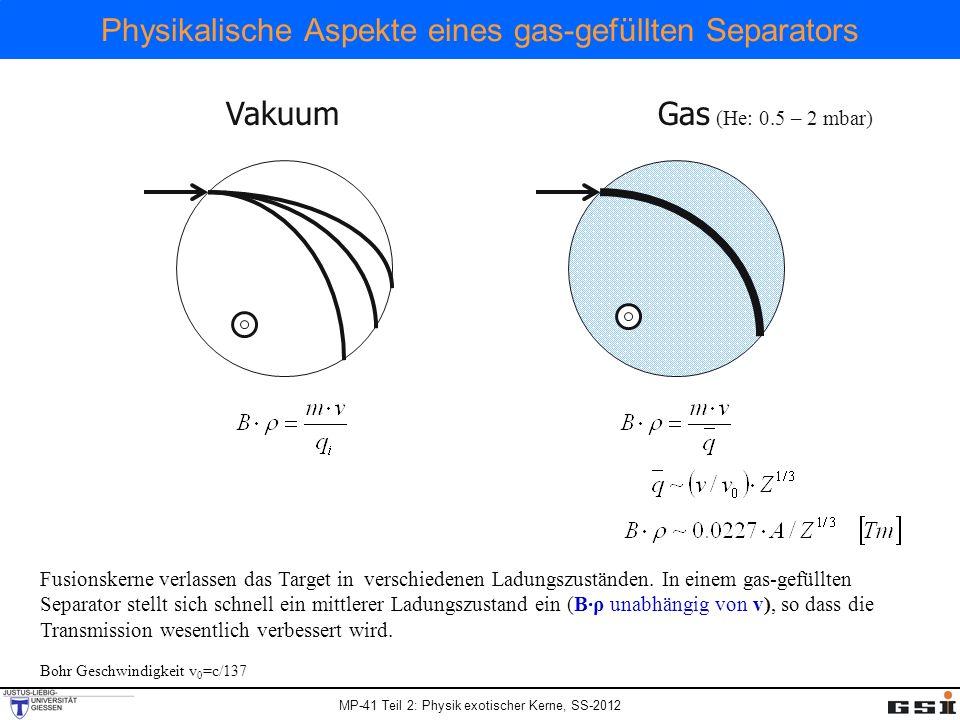 Physikalische Aspekte eines gas-gefüllten Separators