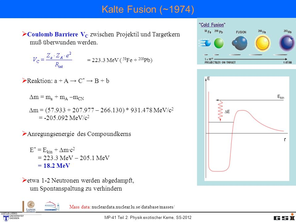 Kalte Fusion (~1974) Coulomb Barriere VC zwischen Projektil und Targetkern. muß überwunden werden.