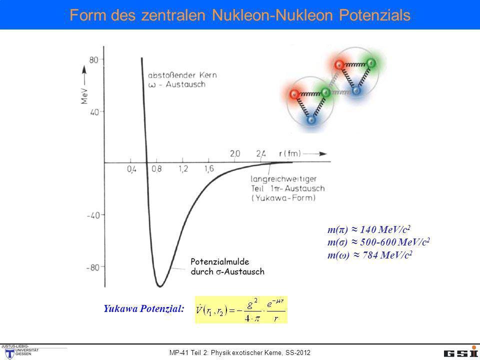 Form des zentralen Nukleon-Nukleon Potenzials