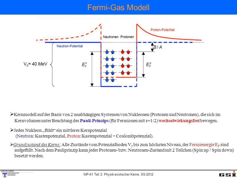 Fermi-Gas Modell Kernmodell auf der Basis von 2 unabhängigen Systemen von Nukleonen (Protonen und Neutronen), die sich im.