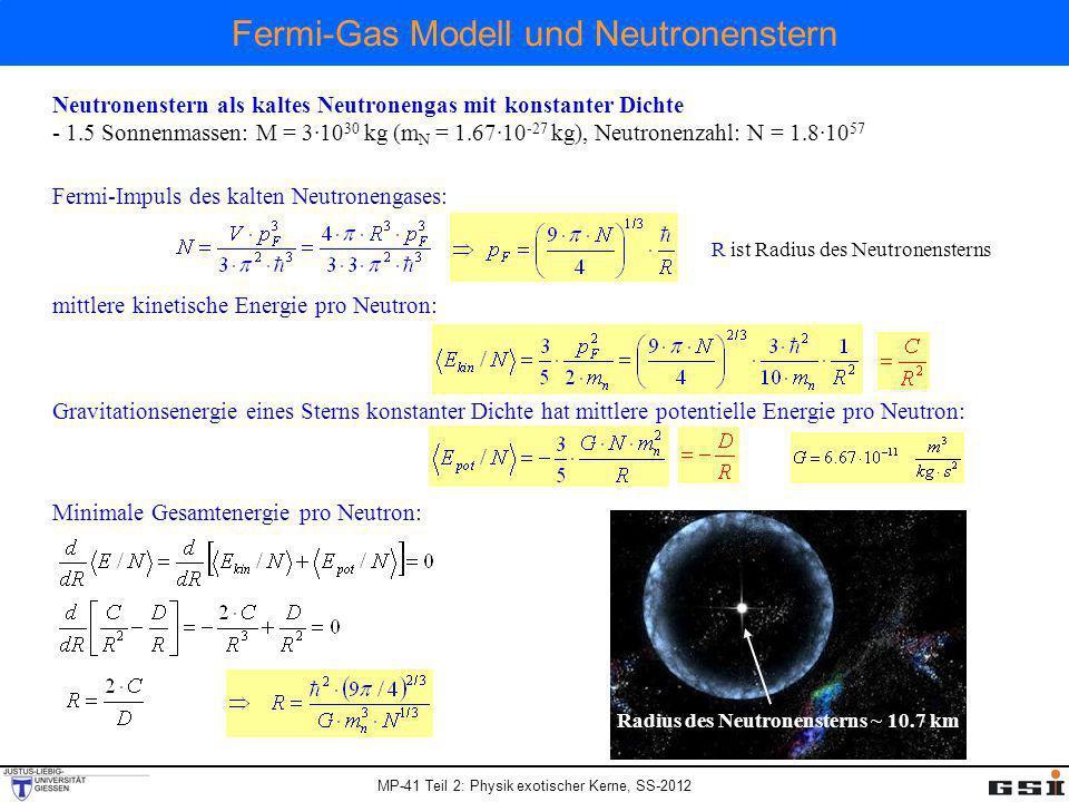 Fermi-Gas Modell und Neutronenstern