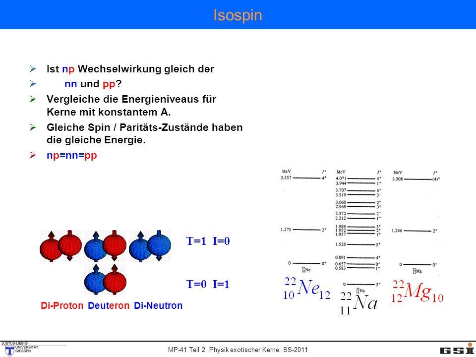 Isospin T=1 I=0 T=0 I=1 Ist np Wechselwirkung gleich der nn und pp