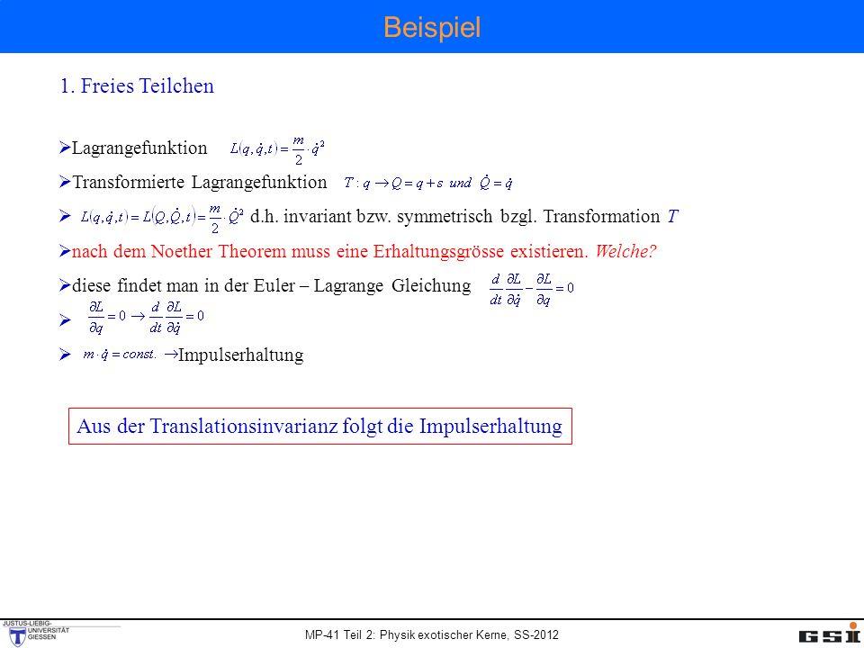 Beispiel 1. Freies Teilchen