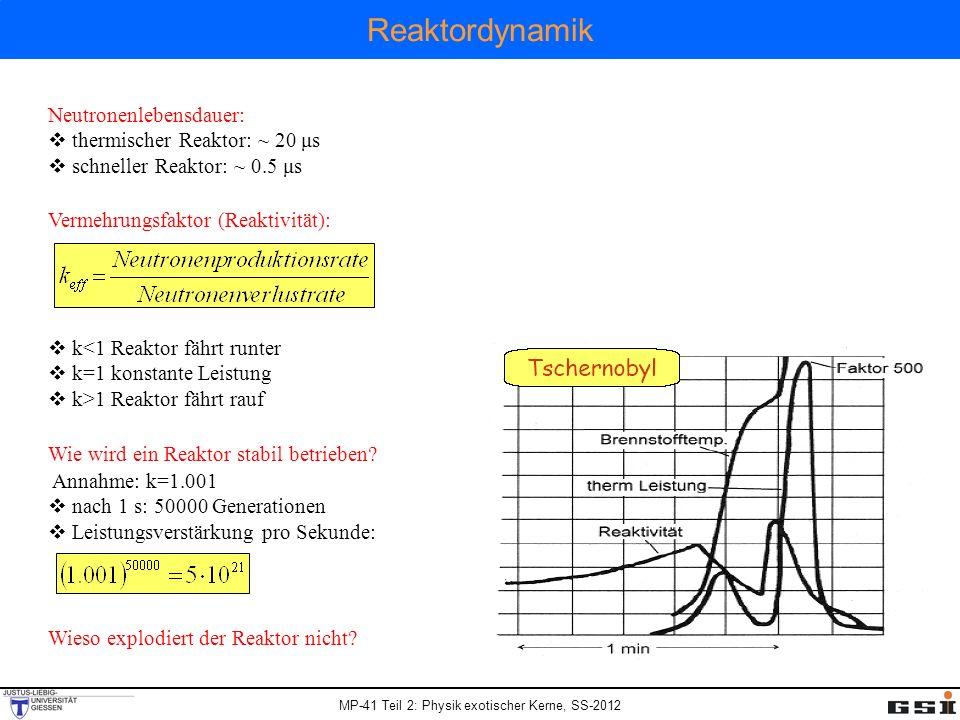 Reaktordynamik Neutronenlebensdauer: thermischer Reaktor: ~ 20 μs
