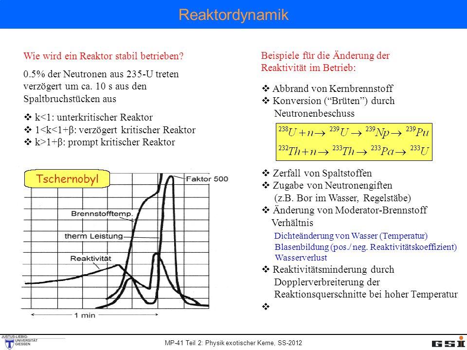 Reaktordynamik Wie wird ein Reaktor stabil betrieben