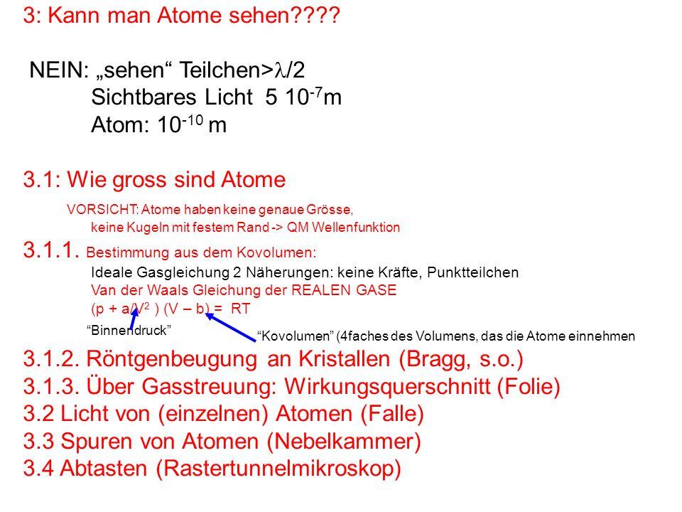 """NEIN: """"sehen Teilchen>/2 Sichtbares Licht 5 10-7m Atom: 10-10 m"""