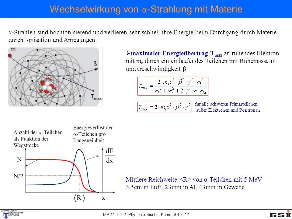 Wechselwirkung von α-Strahlung mit Materie