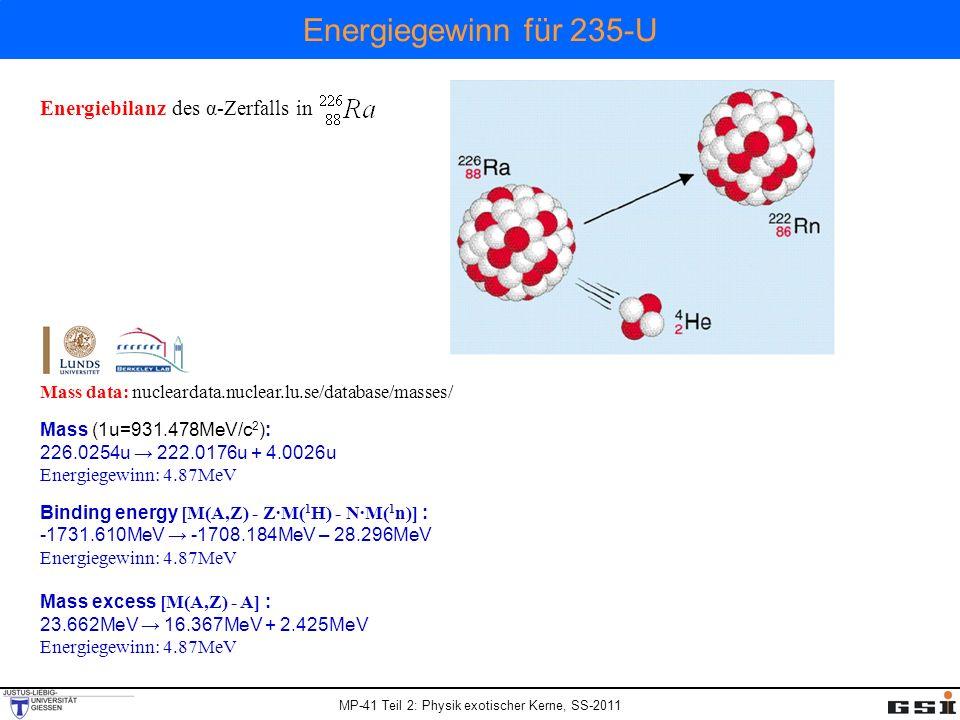 Energiegewinn für 235-U Energiebilanz des α-Zerfalls in