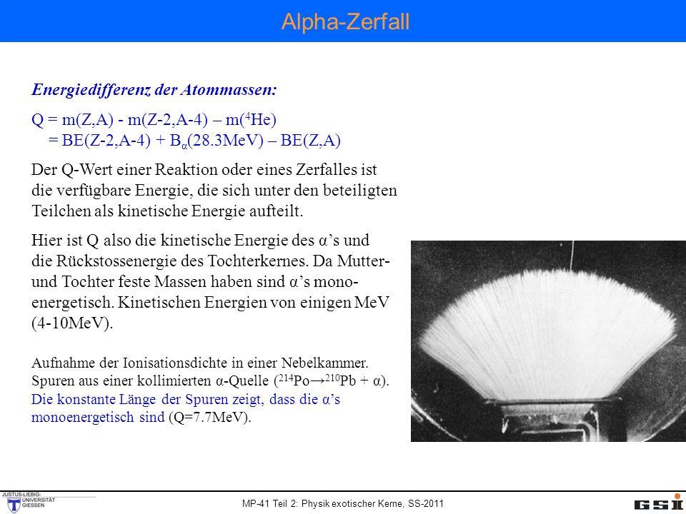 Alpha-Zerfall Energiedifferenz der Atommassen: