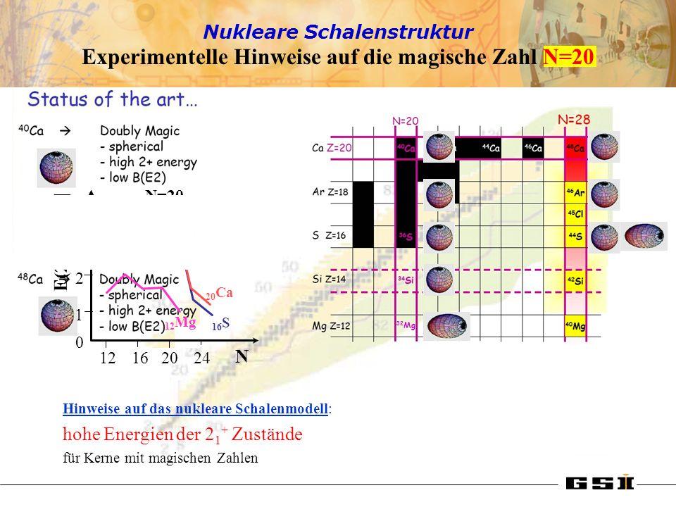 Experimentelle Hinweise auf die magische Zahl N=20