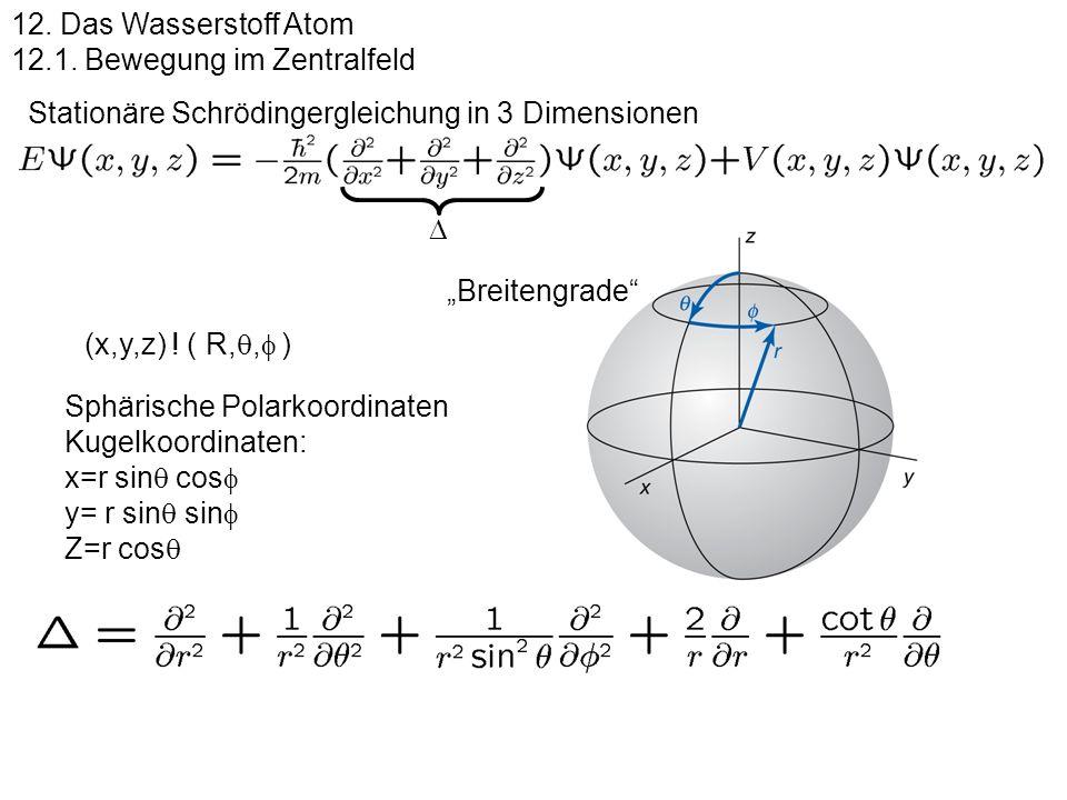 Stationäre Schrödingergleichung in 3 Dimensionen