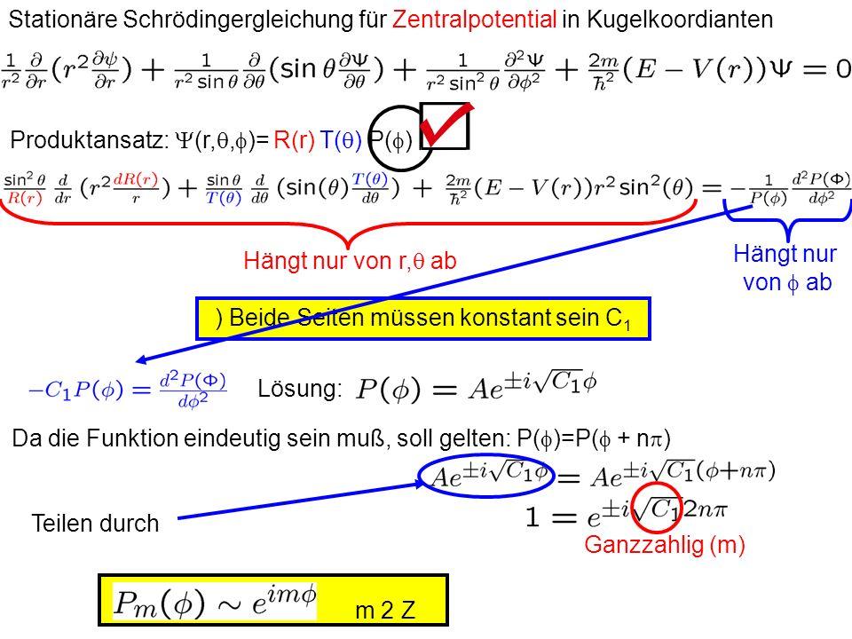 Produktansatz: Y(r,q,f)= R(r) T(q) P(f)