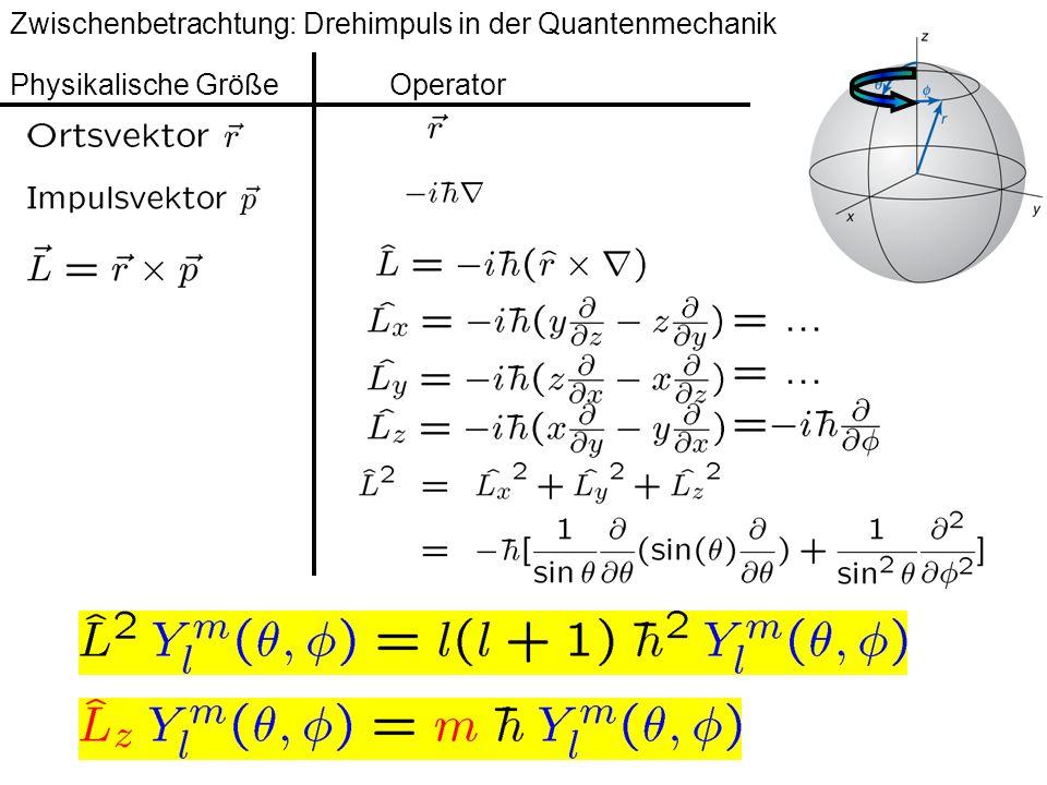Zwischenbetrachtung: Drehimpuls in der Quantenmechanik