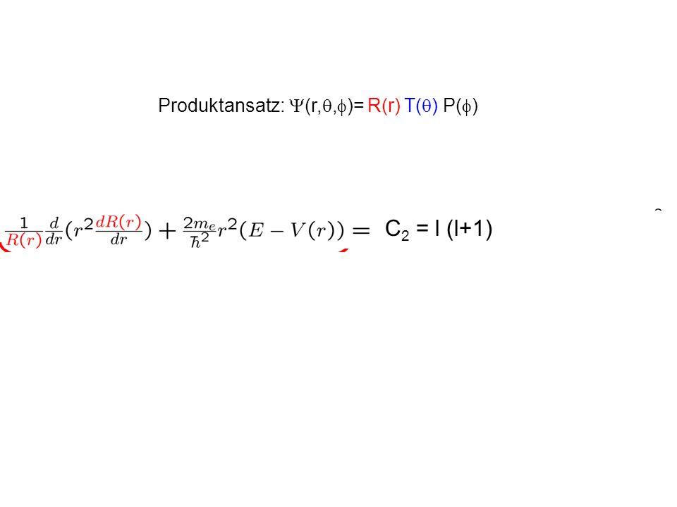 Stationäre Schrödingergleichung für Zentralpotential in Kugelkoordianten