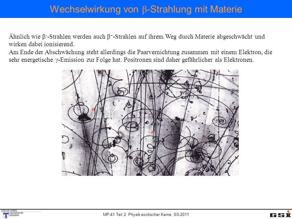 Wechselwirkung von β-Strahlung mit Materie