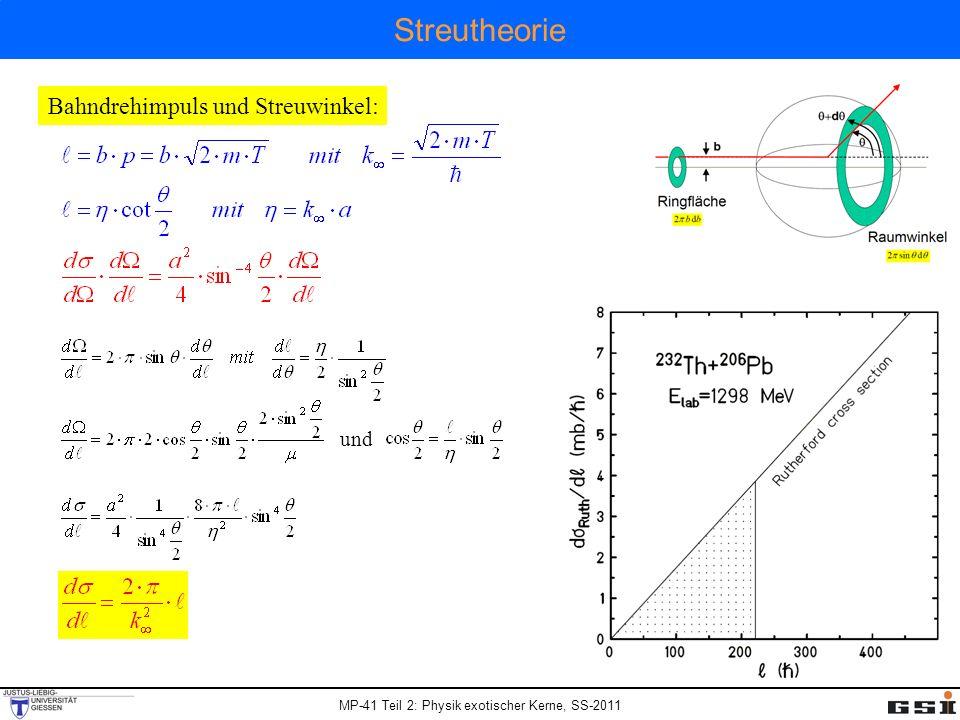 Streutheorie Bahndrehimpuls und Streuwinkel: und