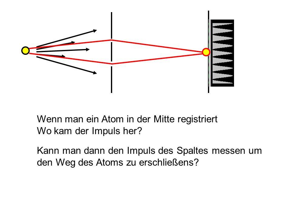 Wenn man ein Atom in der Mitte registriert