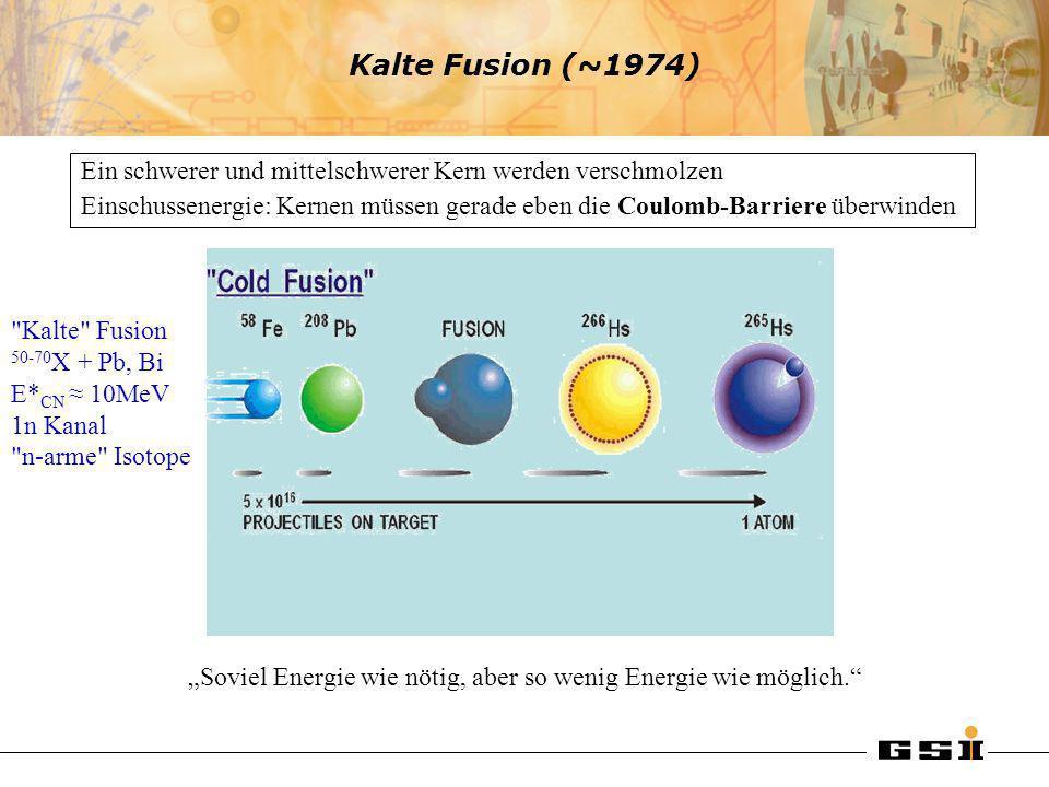 Kalte Fusion (~1974)Ein schwerer und mittelschwerer Kern werden verschmolzen.