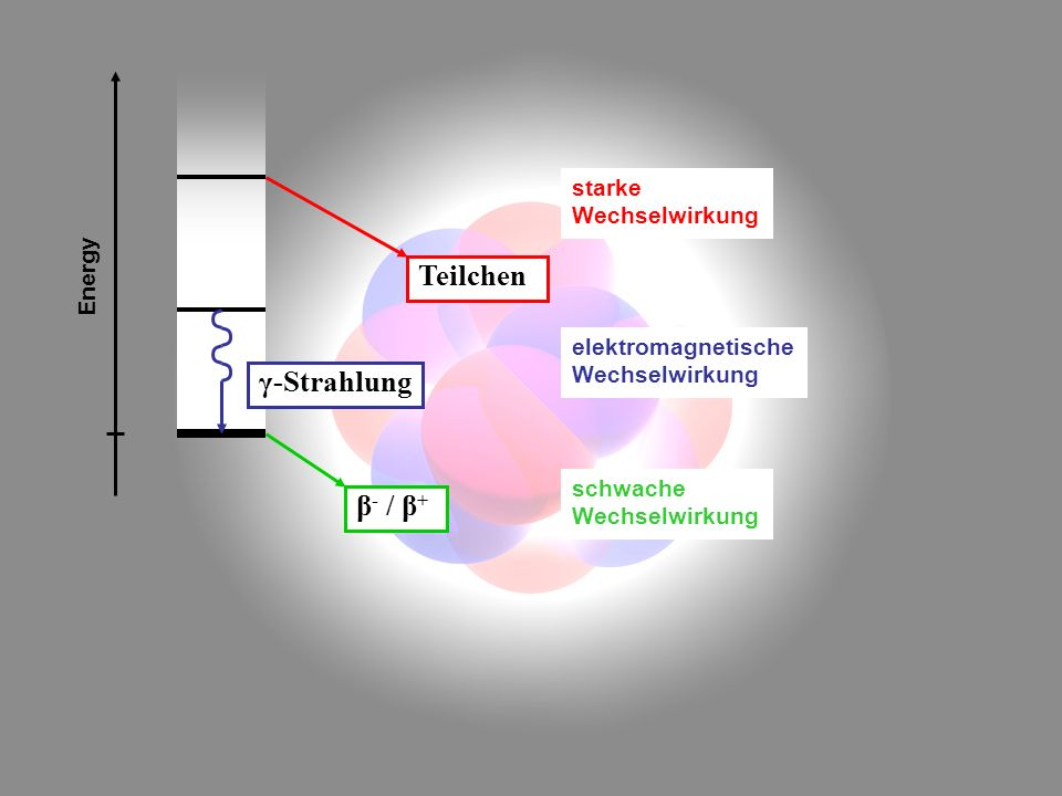 Teilchen γ-Strahlung β- / β+ starke Wechselwirkung Energy