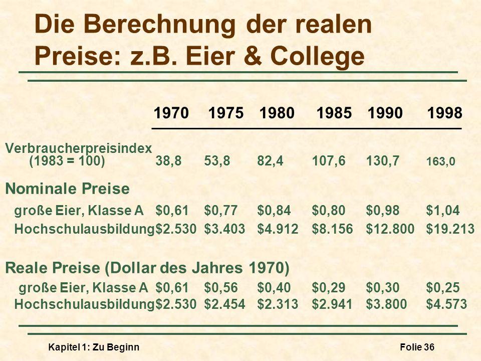 Die Berechnung der realen Preise: z.B. Eier & College