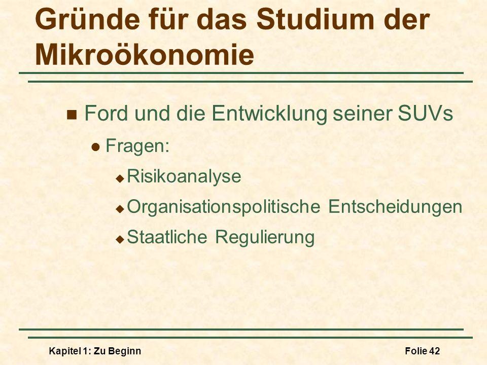 Gründe für das Studium der Mikroökonomie