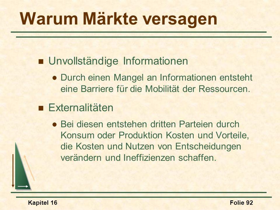 Warum Märkte versagen Unvollständige Informationen Externalitäten