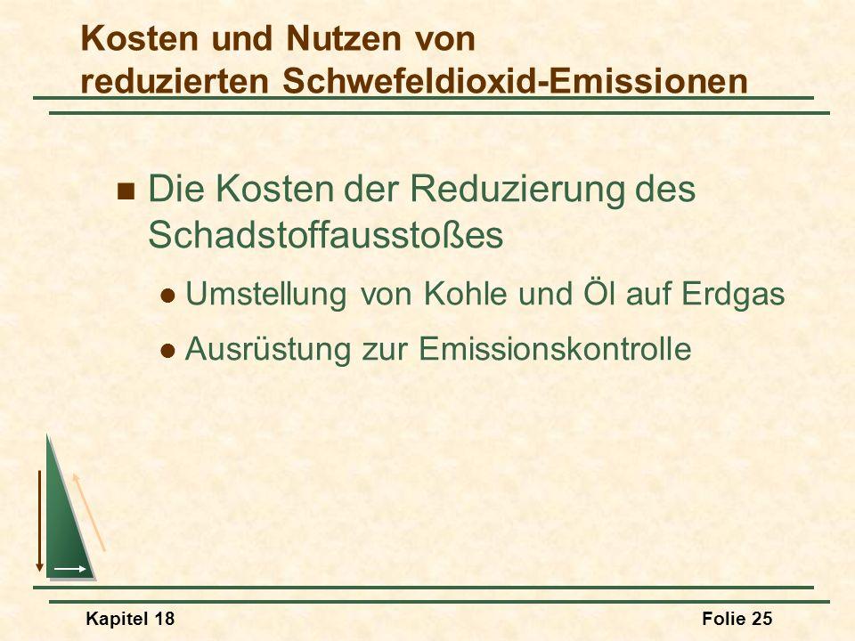 Kosten und Nutzen von reduzierten Schwefeldioxid-Emissionen