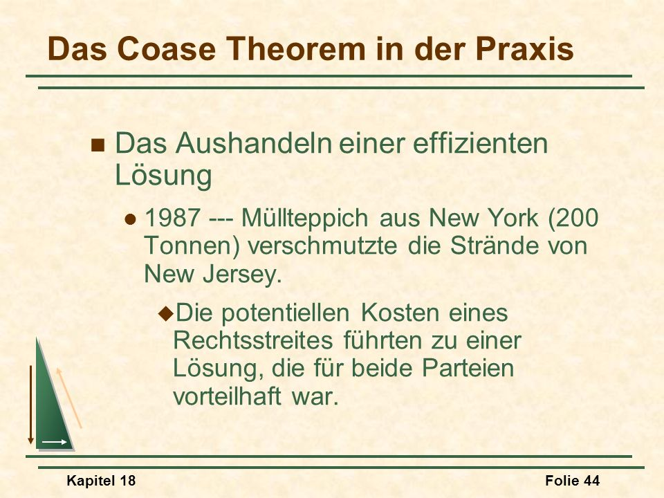 Das Coase Theorem in der Praxis