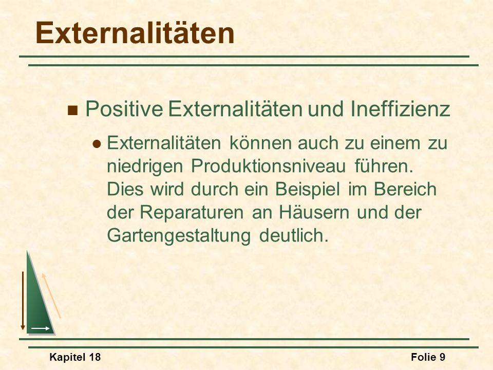 Externalitäten Positive Externalitäten und Ineffizienz