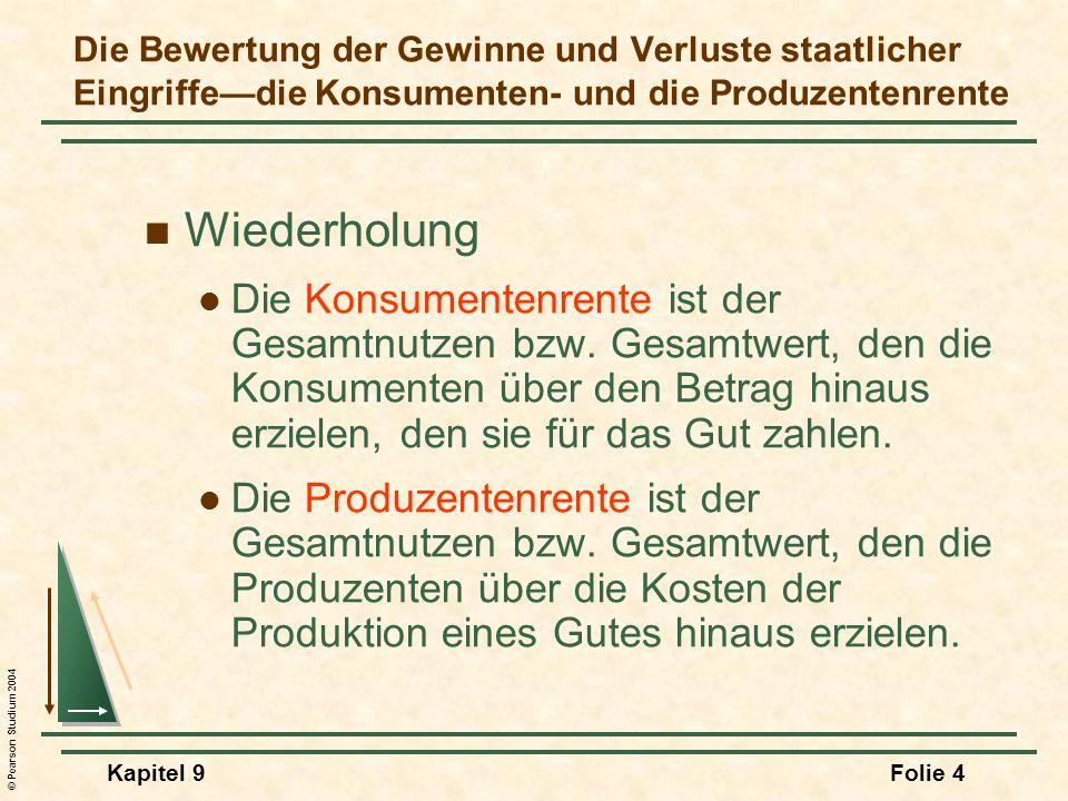 Die Bewertung der Gewinne und Verluste staatlicher Eingriffe—die Konsumenten- und die Produzentenrente