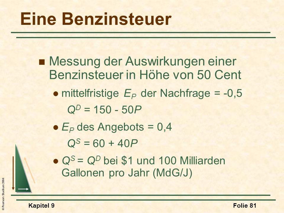Eine Benzinsteuer Messung der Auswirkungen einer Benzinsteuer in Höhe von 50 Cent. mittelfristige EP der Nachfrage = -0,5.