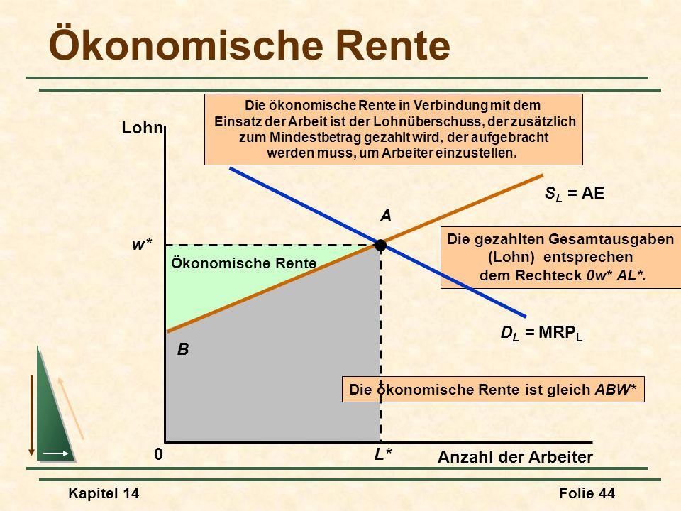 Ökonomische Rente Lohn SL = AE A w* DL = MRPL B L* Anzahl der Arbeiter