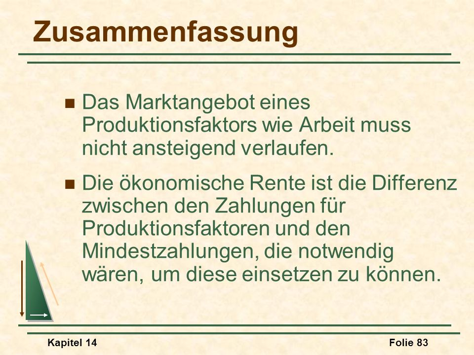 Zusammenfassung Das Marktangebot eines Produktionsfaktors wie Arbeit muss nicht ansteigend verlaufen.