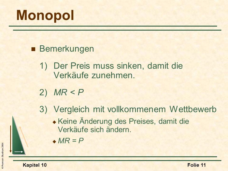 MonopolBemerkungen. 1) Der Preis muss sinken, damit die Verkäufe zunehmen. 2) MR < P. 3) Vergleich mit vollkommenem Wettbewerb.