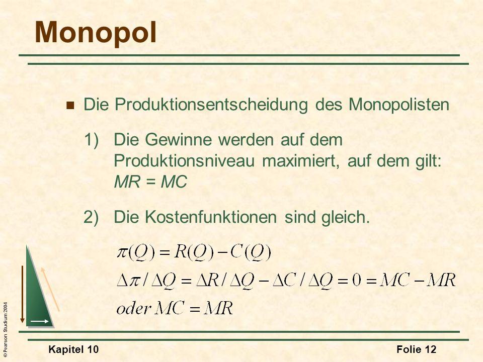 Monopol Die Produktionsentscheidung des Monopolisten