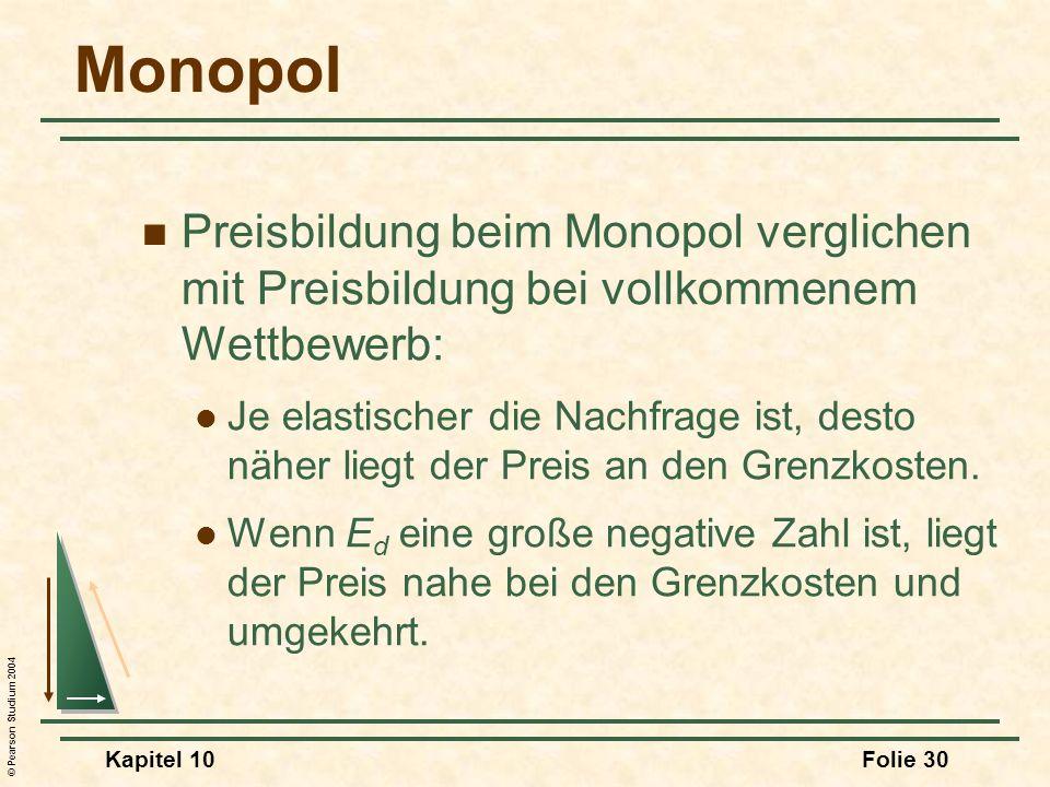 MonopolPreisbildung beim Monopol verglichen mit Preisbildung bei vollkommenem Wettbewerb: